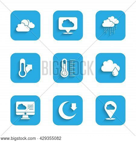 Set Meteorology Thermometer, Moon, Location Cloud, Cloud With Rain, Weather Forecast, And Sun And We