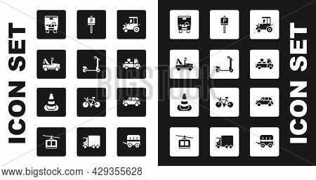 Set Tractor, Scooter, Tow Truck, Bus, Delivery, Parking, Hatchback Car And Traffic Cone Icon. Vector