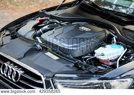 Grodno, Belarus - December 2019: Audi A6 4g, C7 2.0 Tdi 190 Hp 2016 Diesel Motor Compartment Of Mode