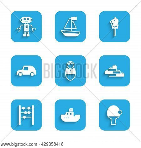 Set Tumbler Doll Toy, Toy Boat, Racket And Ball, Building Block Bricks, Abacus, Car, Horse And Robot
