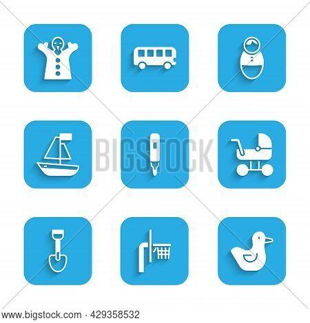Set Marker Pen, Basketball Backboard, Rubber Duck, Baby Stroller, Shovel Toy, Toy Boat, Tumbler Doll