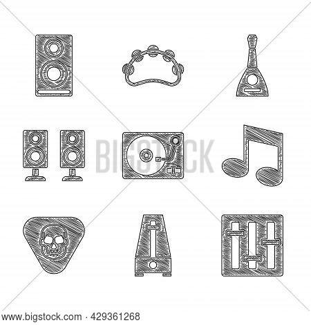 Set Vinyl Player With Vinyl Disk, Metronome Pendulum, Sound Mixer Controller, Music Note, Tone, Guit