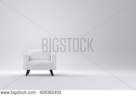 Monochrome Armchair With Pillows On Studio White Background. 3d Render Of Single Recliner Element Of