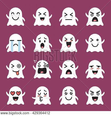 Ghost Emoji Emoticon Set. Funny Cartoon Emoticons