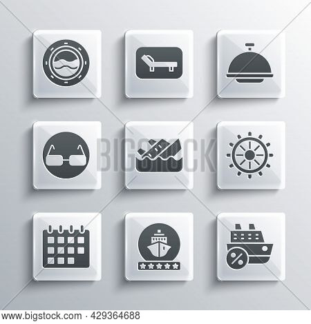 Set Cruise Ship, Ship Steering Wheel, Sinking Cruise, Calendar, Glasses, Porthole With Seascape And