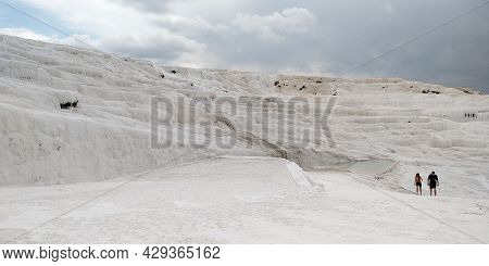 Pamukkale, Turkey - 1 June, 2021: These Are The Famous Slopes With Pools Covered With Natural Terrac