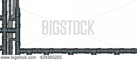 Sewerage Line. Water Fittings. Pipeline For Various Purposes. Banner Frame. Illustration Isolated On