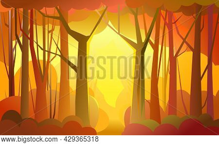 Forest Pathway. Trees Illustration. Dense Wild Plants With Tall, Branched Trunks. Autumn Orange Land