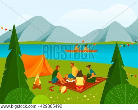 Camping Or Rest In Forest Or Parkland, Banner.