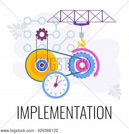 Implementation Icon. Business Strategy. Flat Vector Illustration.