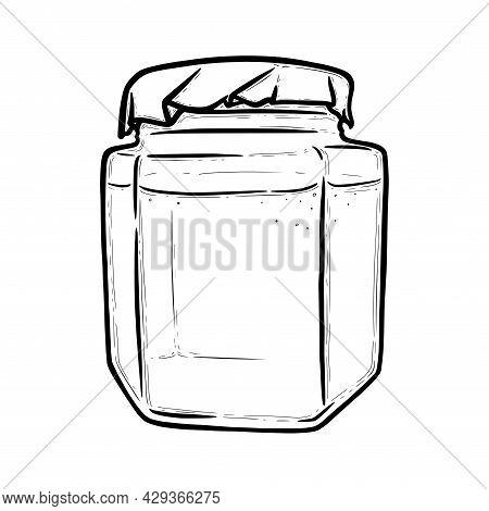 Glass Jar Front View. Hexagonal Jar For Preserves Of Pickles, Honey Or Jam. Hand Drawn Vector Illust