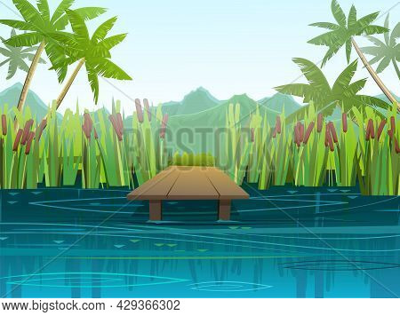 Pier For Fishing On Coast Of River Or Lake. Wild Pond. Summer Landscape. Palm Trees In A Tropical Cl