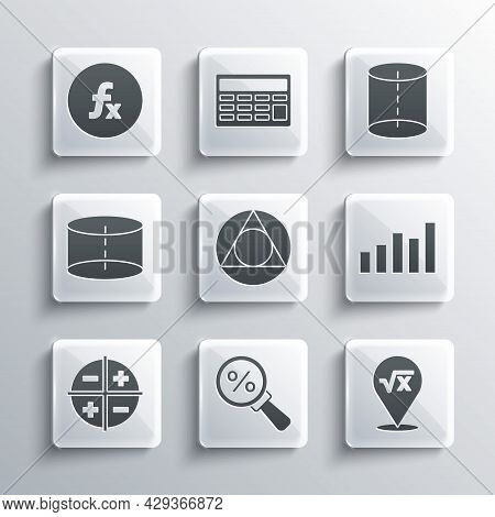 Set Magnifying Glass With Percent, Graph, Schedule, Chart, Diagram, Triangle Math, Xyz Coordinate Sy