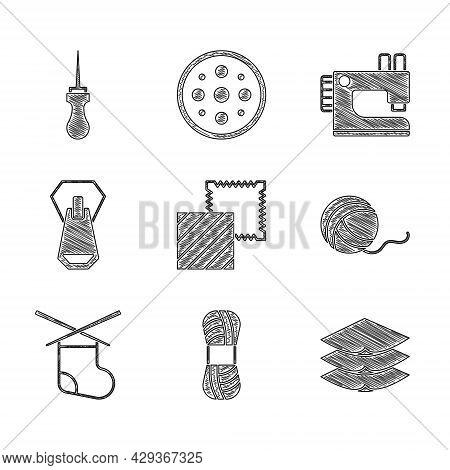 Set Textile Fabric Roll, Yarn, Layers Clothing Textile, Ball, Knitting Needles, Zipper, Sewing Machi
