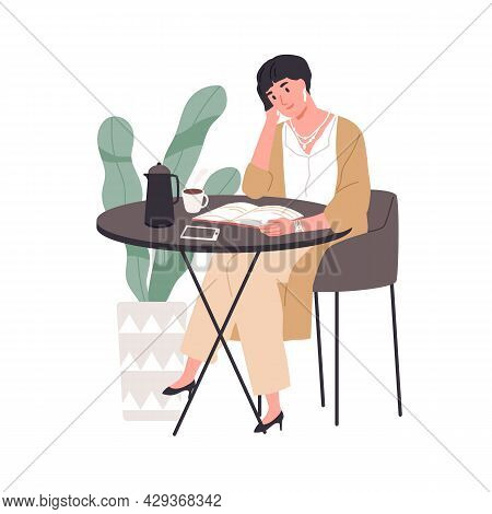 Woman Reading Fiction Literature In Cafe. Book Reader Resting And Enjoying Novel And Tea Cup At Tabl