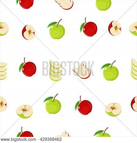 Vector Illustration Of Apple Seamless Pattern On The White Background. Red And Green Apple. Half And