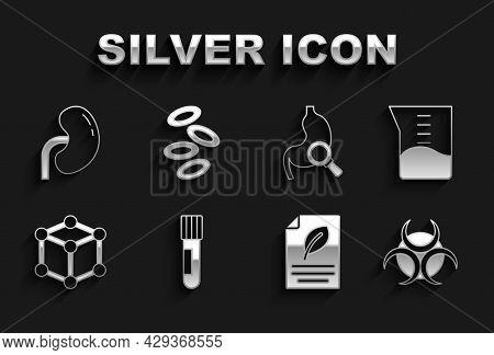 Set Test Tube And Flask, Laboratory Glassware Or Beaker, Biohazard Symbol, Eco Paper With Leaf, Mole