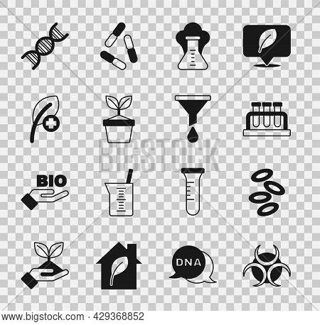 Set Biohazard Symbol, Hemoglobin, Test Tube And Flask, Chemical Explosion, Plant Pot, Leaf Or Leaves