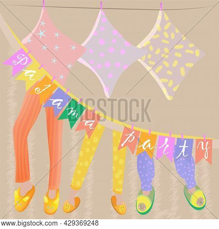Vector Illustration With Pillows And Pajama Pants In Indoor Slippers With The Inscription Pajama Par