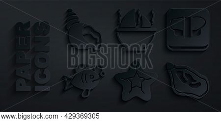 Set Starfish, Sushi On Cutting Board, Tropical, Mussel, Shark Fin Soup And Scallop Sea Shell Icon. V