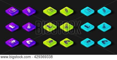 Set Octopus, Mussel, Fishing Boat, Soy Sauce Bottle, Steak And Served Fish On Bowl Icon. Vector