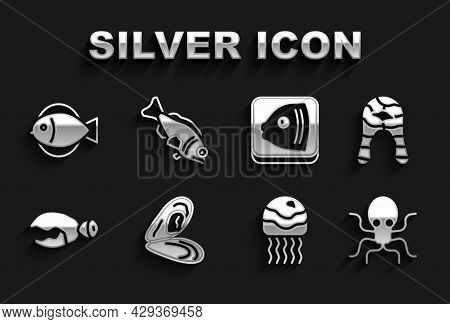 Set Mussel, Fish Steak, Octopus, Jellyfish, Lobster Or Crab Claw, Head, And Icon. Vector