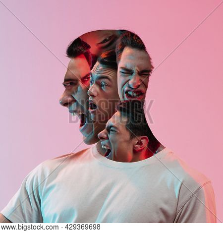 Conceptual Image With Crazy Portraits Of Young Man With Mental Disorders And Split Personality. Emot