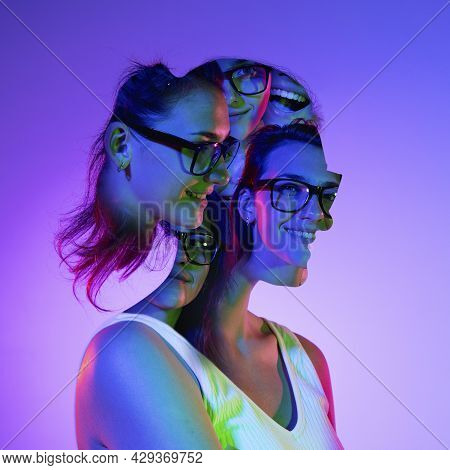 Conceptual Image With Crazy Portraits Of Young Woman With Mental Disorders And Split Personality. Em