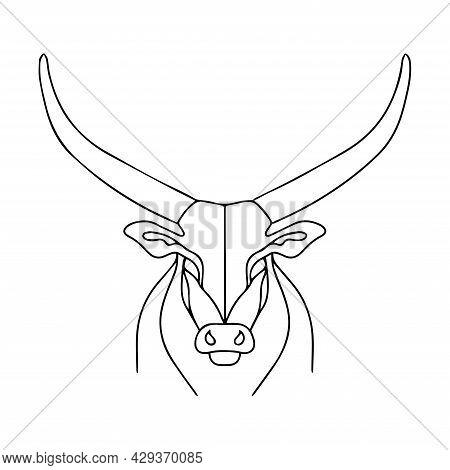 Linear Illustration Of A Bull With Long Horns. Dangerous Horned Animal. Bull Logo.