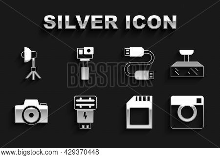 Set Photo Camera Flash, Softbox Light, Sd Card, Usb Cable Cord, And Action Icon. Vector