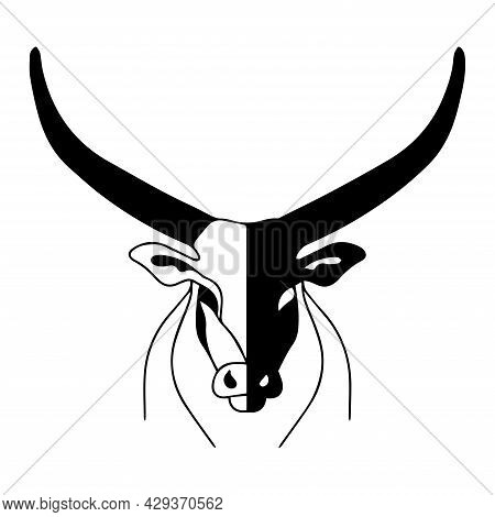 Illustration Of A Bull With Huge Horns. Vector Bull Head. The Logo Of A Bull, A Strong And Dangerous