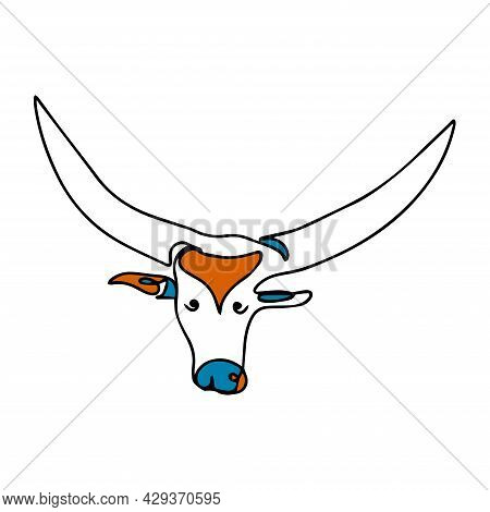Illustration Of A Bull With Long Horns. Vector Bull In One Line Style. One Line Colored Bull Logo. M