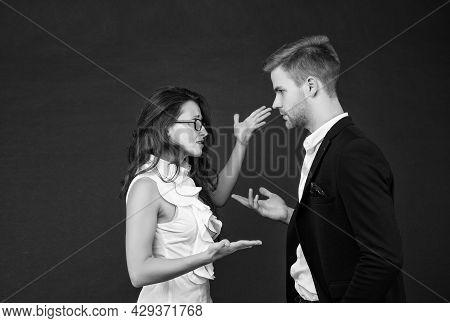 Emotional Business Conversation Between Businesswoman And Businessman In Formalwear Dark Background,
