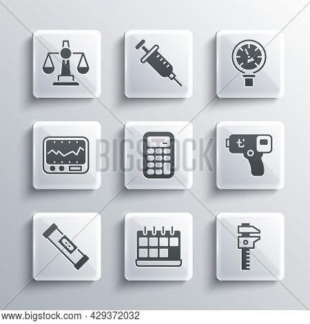 Set Calendar, Calliper Or Caliper And Scale, Digital Thermometer, Calculator, Construction Bubble Le