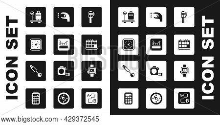 Set Calliper Or Caliper And Scale, Graph, Schedule, Chart, Diagram, Clock, Scale With Suitcase, Cale
