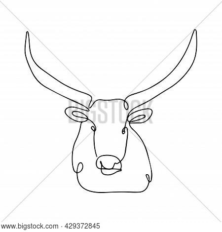 Continuous Line Drawing Of A Bull. Vector Illustration Of A Bull. Sketch Of A Horned Animal Tattoo.