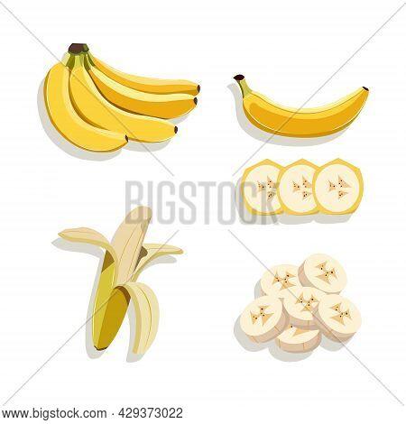 Vector Illustration Set Of Banana. A Bunch Of Banana. Peeled And Sliced Banana. Healthy Food For Die