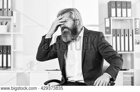 Job One Of Biggest Stressors In Life. Stress Reduction Mechanisms. Business Man Suffer Headache. Bus