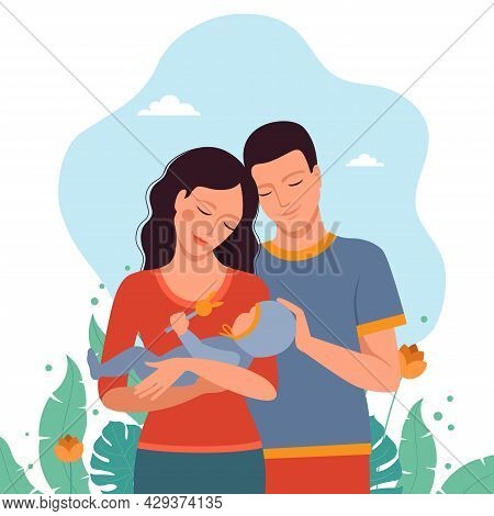 Mom And Dad Together With A Child, Family Together Conceptual Illustration In Flat Style. Vector Fil