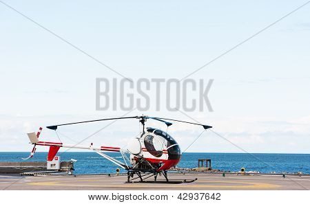 Small Helicopter On The Ground