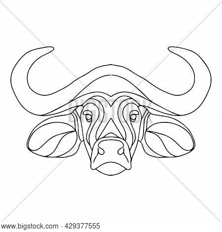 Linear Drawing Of A Bull's Head. Vector Bull Logo. Coloring Book Of A Horned Animal. Bull Coloring P