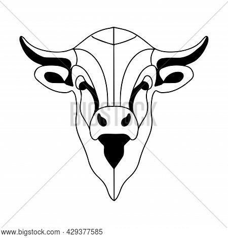 Graphic Illustration Of A Bull. Vector Buffalo Head. The Logo Of A Bull, A Strong And Dangerous Anim