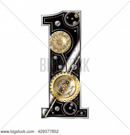 The Number 1 Is One In The Steampunk Style. Isolated On A White Background. Vector In An Industrial