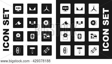 Set Skateboard Y-tool, Wheel, Park, Cinema Camera And Icon. Vector