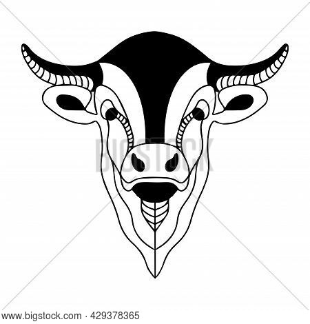 Graphic Image Of A Bull. Buffalo Vector Logo. Coloring Book Of A Horned Animal. Cattle.vector Silhou