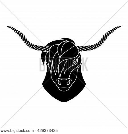Vector Illustration Of A Bull. Bull Logo In Graphic Style. Silhouette Of Cattle. Zodiac Sign. Sketch