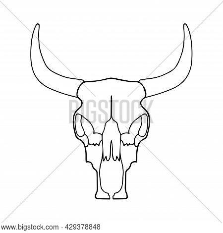 Linear Drawing Of A Bull's Skull. Vector Illustration Of A Bull. Skull Tattoo Sketch, Coloring Book.