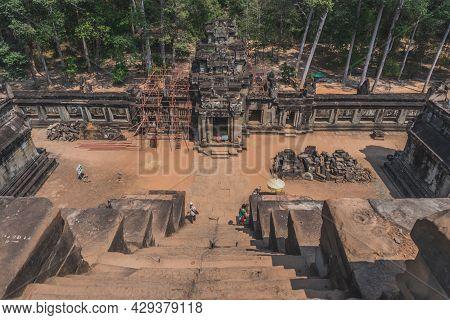 Ancient Angkor Wat Ruins Panorama. Eastern Mebon Temple. Siem Reap, Cambodia - February 25, 2020