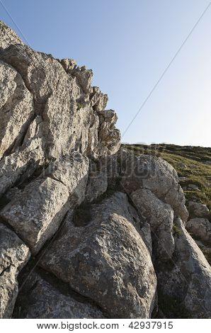 Limestone rock formation at Cape Espichel Sesimbra Portugal poster