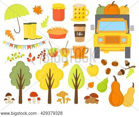 Autumn Elements Vector Hand Drawn Set. Fall Season Elements Perfect For Scrapbook, Card, Poster, Inv